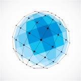 Abstract vector laag polyvoorwerp met zwarte lijnen en punten connec Stock Fotografie