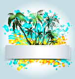 Abstract vector label with palm trees. Vector illustration Stock Photos