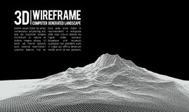 Abstract vector landscape background. Cyberspace landscape grid. 3d technology vector illustration. Abstract vector landscape background. Cyberspace landscape royalty free illustration