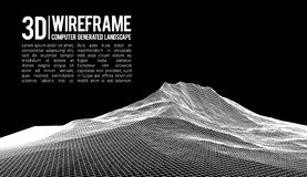 Abstract vector landscape background. Cyberspace landscape grid. 3d technology vector illustration. Abstract vector landscape background. Cyberspace landscape stock illustration
