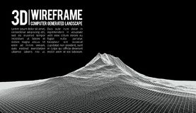 Abstract vector landscape background. Cyberspace landscape grid. 3d technology vector illustration. Abstract vector landscape background. Cyberspace landscape vector illustration
