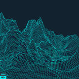 Abstract vector landscape background. Cyberspace grid. Royalty Free Stock Photo