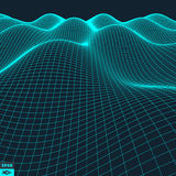 Abstract vector landscape background. Cyberspace grid. Royalty Free Stock Images