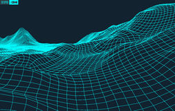 Abstract vector landscape background. Cyberspace  grid. 3d technology  illustration. Royalty Free Stock Photography