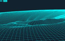 Abstract vector landscape background. Cyberspace grid. 3d technology vector illustration. Abstract vector landscape background. Cyberspace grid. 3d technology Vector Illustration