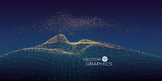 Abstract vector landscape. Cyber vector landscape made of wireframe and particles with rising particles above with connection line. Modern design concept for Stock Images