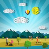 Abstract Vector Landscape with People on Meadow. Abstract Vector Landscape with Paper Cut Clouds, Hot Air Balloon. City with Mountains on Background. People in Royalty Free Illustration