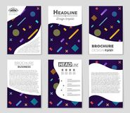 Abstract vector layout background set. For art template design, list, front page, mockup brochure theme style, banner, idea, cover. Booklet, print, flyer, book Royalty Free Stock Images