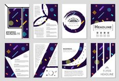 Abstract vector layout background set. For art template design, list, front page, mockup brochure theme style, banner, idea, cover. Booklet, print, flyer, book Royalty Free Stock Image