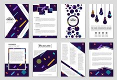 Abstract vector layout background set. For art template design, list, front page, mockup brochure theme style, banner, idea, cover. Booklet, print, flyer, book Royalty Free Stock Photography