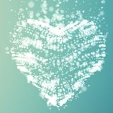 Abstract vector light blue background with glowing heart. Cloud of white shining points in the shape of a heart. Stock Images