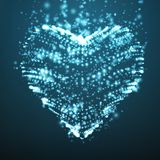 Abstract vector light blue background with glowing heart. Cloud of white shining points in the shape of a heart. Stock Photo