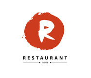 Abstract vector logo design with hand drawn letters. Hand written font. Good for restaurant, food industry, business or any  company insignia. Also may be used Stock Photo