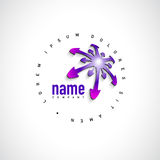 Abstract Vector Logo Design Template. Creative Round Concept Icon with Purple Arrow on White Background Stock Images