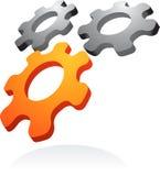 Abstract vector logo / icon - 2. Abstract 3D metallic and orange cogwheel design element -  illustration Royalty Free Stock Photos