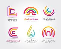 Abstract vector logo set template for branding and Royalty Free Stock Photo