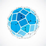 Abstract vector low poly object with black lines and dots connec. Ted. Blue 3d futuristic ball with overlapping lines mesh and geometric figures Stock Photography