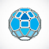 Abstract vector low poly object with black lines and dots connec. Ted. Blue 3d futuristic ball with overlapping lines mesh and geometric figures Royalty Free Stock Image