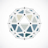 Abstract vector low poly object with black lines and dots connec Stock Image