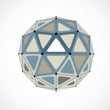 Abstract vector low poly object with black lines and dots connec Stock Photos