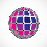 Abstract vector low poly object with black lines and dots connected. Purple 3d futuristic globe with overlapping lines mesh and s. Quares royalty free illustration