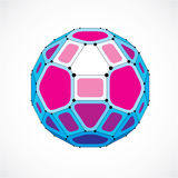 Abstract vector low poly object with black lines and dots  Stock Photography