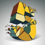 Abstract vector low poly wrecked number 5 with black lines and d Royalty Free Stock Photography