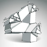 Abstract vector low poly wrecked number 4 with black lines and d Stock Photos