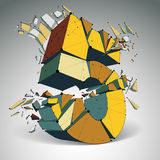 Abstract vector low poly wrecked number 5 with black lines  Royalty Free Stock Photography