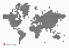 Abstract vector map of the world. From dot forms with placemarks for filling out infographics, business templates, covers, web sites, interfaces, business cards Royalty Free Stock Photo