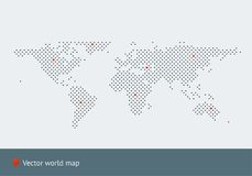 Abstract vector map of the world. From dot forms with placemarks for filling out infographics, business templates, covers, web sites, interfaces, business cards Stock Images