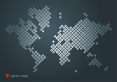 Abstract vector map of the world from dot forms with placemarks for filling out infographics, business templates, covers. Abstract vector map of the world from Royalty Free Stock Photography