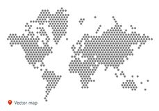 Abstract vector map of the world. From dot forms with placemarks for filling out infographics, business templates, covers, web sites, interfaces, business cards Royalty Free Stock Images