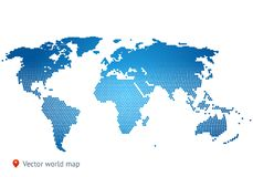 Abstract vector map of the world. From dot forms with placemarks for filling out infographics, business templates, covers, web sites, interfaces, business cards Royalty Free Stock Photos