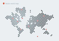 Abstract vector map of the world. From dot forms with placemarks for filling out infographics, business templates, covers, web sites, interfaces, business cards vector illustration