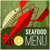 Abstract vector menu poster with fish, lemon, lobster stock illustration