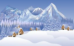 Abstract Vector Merry Christmas Landscape. House, Snow. Background Wallpaper. Stock Image