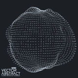 Abstract vector mesh distorted sphere made of Royalty Free Stock Images