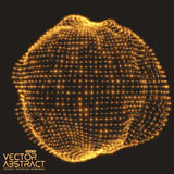 Abstract vector mesh distorted sphere made of Stock Photography