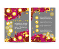 Abstract vector modern flyer / brochure design template with colorful abstract background and set of flat icons Stock Photography