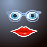 Abstract Vector Mouth, Glasses and Eyes Royalty Free Stock Photo