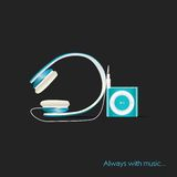 Abstract vector mp3 player with headphones Royalty Free Stock Images