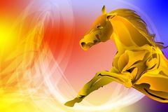 Abstract vector multicolored bright wavy background with abstract horse, vector illustration. Wallpaper,many uses for backgrounds or wallpapers, screen saver Royalty Free Stock Photos