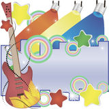 Abstract vector music background with a guitar and colorful spotlights.  Stock Image