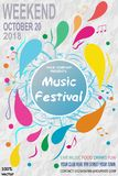 Abstract vector music festival presentation template. With splashes and abstract lines on abstract grunge background for music festival or party event. EPS10 stock illustration