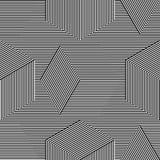 Abstract vector naadloos moirépatroon met kubiek roosterlijnen Zwart-wit grafisch zwart-wit ornament Stock Afbeelding