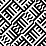 Abstract vector naadloos moirépatroon met kubiek roosterlijnen Zwart-wit grafisch zwart-wit ornament Stock Foto's