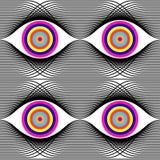Abstract vector naadloos op kunstpatroon Zwart-wit pop-art, grafisch ornament Optische illusie stock illustratie
