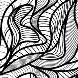 Abstract vector naadloos patroon met golvende krullende lijnen Abstract grafisch zwart-wit ornament Bladeren die textuur herhalen Stock Foto's