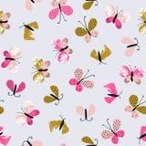 Abstract vector naadloos patroon voor textiel met vlinders Leuke herhaalde modieuze de zomerachtergrond vector illustratie